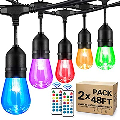 2-Pack 48FT Color Changing Outdoor String Lights, RGB Cafe LED String Light with 30+5 S14 Shatterproof Edison Bulbs Dimmable, Commercial Light String for Patio Backyard Garden, 2 Remote Control, 96FT