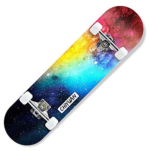 EZEZWSNBB Skateboard 80x20 cm Komplette Skateboard für Kinder Jugendliche Erwachsene Farbiger Rauch 9-Lagiger Kanadischer Ahorn Double Kick Deck Concave mit All-in-One Skate für Anfänger