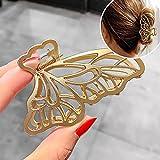 (SET OF 2)Korean New Hair Claw Barrettes For Women Fashion Girl Metal Geometric Hollow Out Headwear Hair Accessories Crab Hair Clip (C)