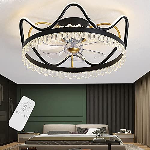 Ventilador de luz de techo LED con iluminación Regulable Extremadamente silencioso Moderno Lámpara de techo Dormitorio Sala de estar Habitación para niños Luz de techo de cristal (Black,56cm)