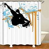 ZZZdz Handgemalt. Skateboarder. Duschvorhang: 180 X 180 cm. Wasserdichter Stoffteppich Für Duschvorhang. Bad Duschvorhang Set Polyesterfaser Bad Duschvorhang.