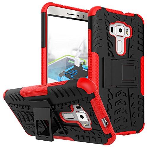 PAIPAIGUAN ASUS Zenfone 3 ZE552KL(5.5 Zoll) hülle(Silikon Series) TPU + PC 2-in-1-Double-Layer-idealer Schutz,Stoßfest Handyhülle Drop Resistance Handys Schutz Hülle mit Ständer für-Rot