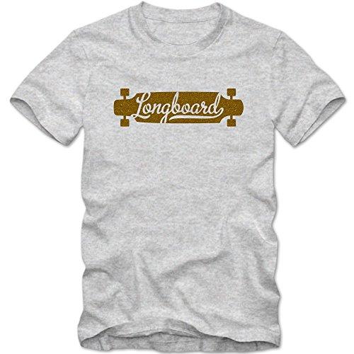 Longboard #1 T-Shirt | | Herren | Fun | Skateboard | Funsport | Asphalt-Surfen|Cruisen, Farbe:Graumeliert (Grey Melange L190);Größe:XL
