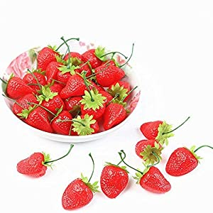 SENREAL Artificial Strawberries 30Pcs Fake Strawberries Red Realistic Plastic Strawberries Artificial Plastic Fruit for Home Kitchen Party Wedding Decoration Photography Prop