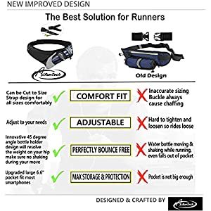 AiRunTech Upgraded No Bounce Hydration Belt Can be Cut to Size Design Strap for Any Hips for Men Women Running Belt with Water Bottle Holder with Large Pocket Fits Most Smartphones(Black)