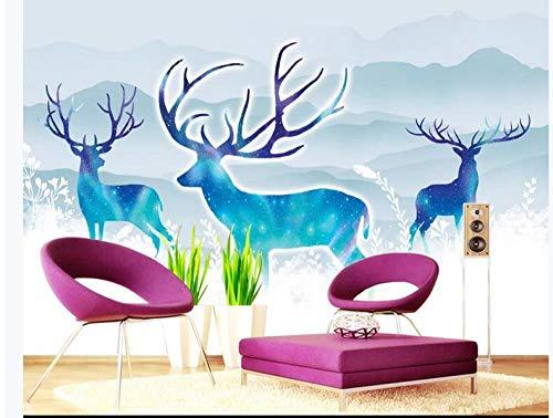 Tapete vintage 3D Original nordischer IKEA Sternenhimmel Elch Hintergrund