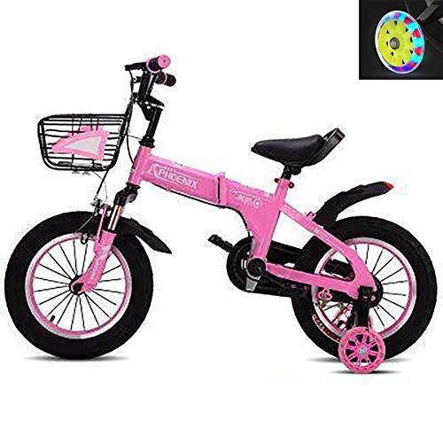 Kinderfiets kinderfiets kinderfiets kinderfiets vouwfiets carbonstaal met voorwagen en trainingswielen voor 2-10 jaar oud, 12