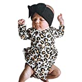 Weant Baby Strampler Mädchen 0-6 Monate Winter Langarm Overalls mit Leopardenmuster Rüsche Fleece Hoodie Bodysuit Jungen Footed Jumpsuit Unisex Set Säugling Spielanzug Baby-Nachtwäsche