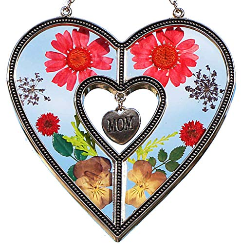 Image of the Glass MoM Heart Suncatcher Mom New Heart Sun-Catchers Gifts for Mother, Pressed Flower Between Wings Glass for Window, Silver Metal Engraved Charm, as Mother's Day Mom Birthday from Daughter…