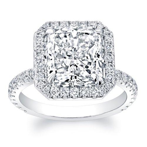 Amazon Com Women S 14k White Gold 2 Carat Princess Cut Diamond Halo Engagement Ring Handmade