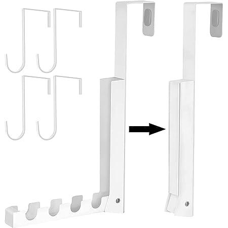 yiteng 折り畳みドアハンガー 収納フック 収納ラック4つ付き 引っ掛かりが4ヵ所 耐荷重約6kg (ホワイト)