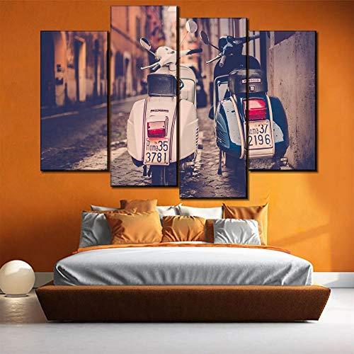 FYBSNDY Fototapete Leinwand Hd-Druck 4 Stück Retro-Roller Bild Auf Piaggio Straße Hauptdekoration Modular 40X80Cmx2 40X100Cmx2 Ohne Rahmen