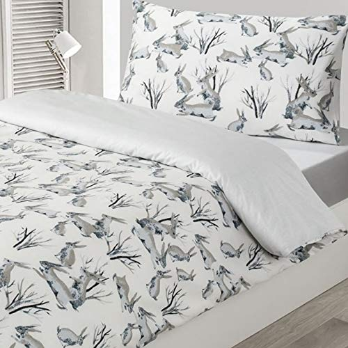 Driftwood Kids Rabbits 100% Cotton Duvet Cover Set, White/Grey, Double