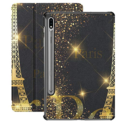 Paris Gold Eiffel Tower Funda Galaxy Tab S7 Plus 2020 para Samsung Galaxy Tab S7 / s7 Plus Samsung Galaxy S7 Stand Carcasa Trasera para Tableta 7 Pulgadas para Galaxy Tab S7 11 Pulgadas S7 Plus 12,4