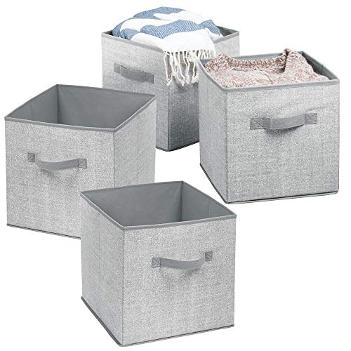 mDesign 4er-Set Aufbewahrungsbox Stoff - Stoffkiste für Kinderzimmer oder Schlafzimmer - die ideale Spielzeugkiste mit zwei Griffen - grau