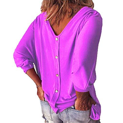 x8jdieu3 Camiseta De Verano con Cuello En V Y Manga Corta con Siete Cuartos Y Top Femenino