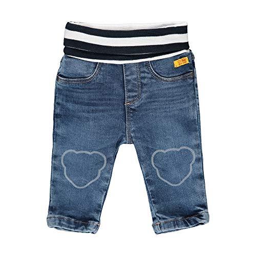 Steiff Baby-Jungen mit süßer Teddybärapplikation Jeanshose, Blue Indigo, 068