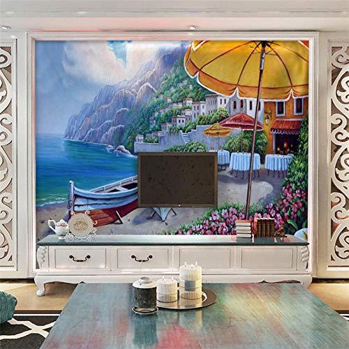 ZJfong behang hd driedimensionale strand villa boot cruise schilderij bank slaapkamer woonkamer tv achtergrond muur 330 x 210 cm.