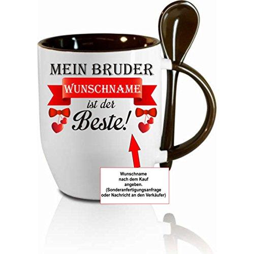 Creativ Deluxe Tasse m. Löffel - Mein Bruder (Wunschname) ist der ´Beste - Kaffeetasse mit Motiv, Bedruckte Tasse mit Sprüchen o. Bildern - auch indiv. Gestaltung