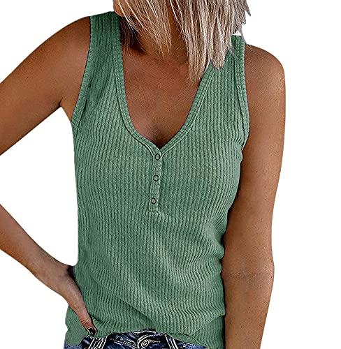 Camiseta Sin Mangas De Verano para Mujer, Chaleco De Color SóLido, Camisetas con Cuello En V