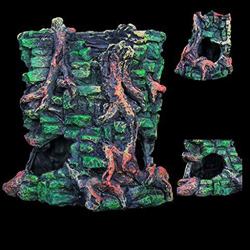 B Blesiya Mayan Mask Resin Reptile Habitat Decor Turtle Hideouts Cave Bark Bends Aquarium Fish Tank Ornament, Green