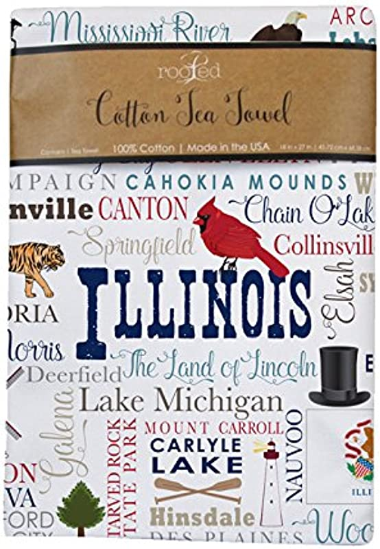 Illinois State Towel Cities Landmarks Made In The USA