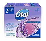 Dial Antibacterial Bar Soap, Lavender & Twilight Jasmine, 3.2 Ounce, 2 Bars