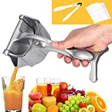 N-brand Mifly Manual Fruit Juicer Citrus Press Heavy Duty Hand Press Alloy Orange Lemon Squeezer Detachable Lime Squeezer with 3 Filter Bags and 1 Food tongs