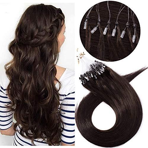 Microring Extensions Echthaar Haarverlängerungen Micro Loop Bondings Human Hair Dunkelbraun#2-1 22