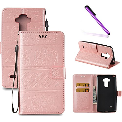 LG G Stylo Case,LG G4 Stylus Case,LEECOCO Fancy Embossed Wallet Case with Card/Cash Slots [Kickstand] Shockproof PU Leather Flip Case for LG G Stylo / G4 Stylus LS770 Elephant Rose Gold