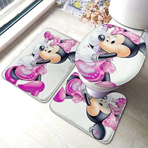 JINGZHID Mickey Mouse Minnie Badezimmerteppich-Set, 3-teilig, weich, rutschfest, saugfähig, Bademattenbezug, U-förmige Konturmatte, Filoor Matte & WC-Bezug, Badezimmerteppich