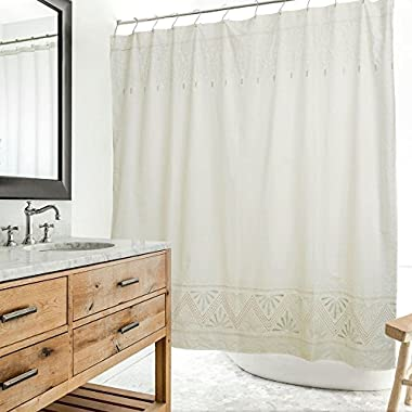 Merryfeel Embroidered Shower Curtain 180 x 190 cm (70 x74  approx)