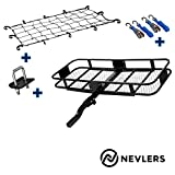 """Nevlers 60"""" L x 20"""" W x 6"""" H Folding Hitch Mount Cargo Carrier with Net, 2 Blue Ratchet Straps and Bonus Hitch stabilizer - Waterproof - 500 lb Weight Limit - Great Additional Trunk Space"""