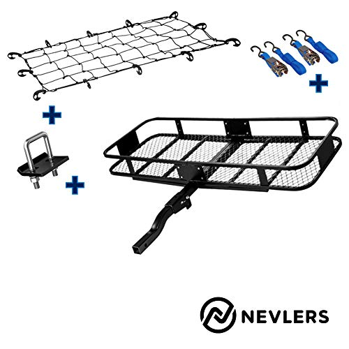 Nevlers Folding Hitch Mount Cargo Carrier with Net, 2 Blue Ratchet Straps and Bonus Hitch stabilizer - Waterproof - 500 lb Weight Limit - Great Additional Trunk Space
