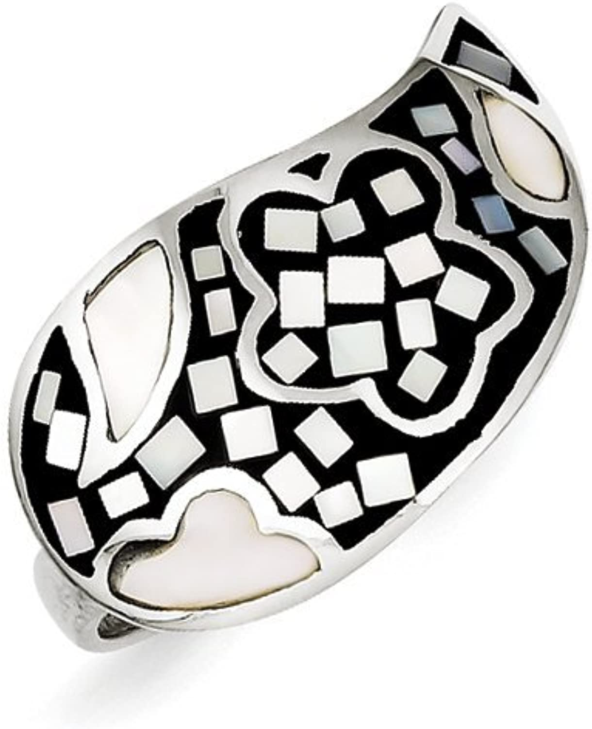 gold and Watches Sterling Silver Mother of Pearl & Synthetic Stone Ring