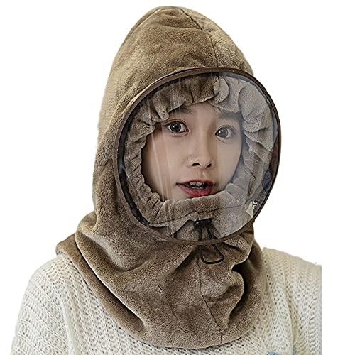 BOWTONG 1 Pza Invierno cálido Mujer señoras Sombrero de Lana Capucha cálida máscara Facial Sombrero pañuelo Gorros Terciopelo Engrosamiento cálido Sombrero de Ciclismo a Prueba de Viento