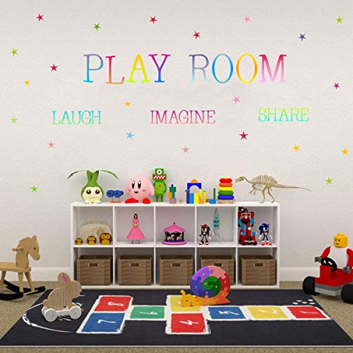 TOARTi UV Printing Playroom Share Imagine Laugh Wall Decal, Colorful Inspirational Lettering Quote with Stars Wall Sticker for Classroom Playroom Decoration
