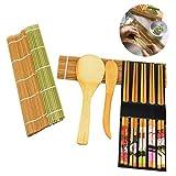 Osuter 6PCS Kit para Hacer Sushi Bambu, Sushi Maker Durable Esterilla para Sushi Interesante para Principiante Profesional Amantes de la Comida