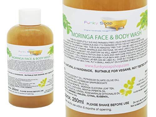 Funky Soap 1 Bouteille Liquide Moringa Visage et Corps Lavage 100% Naturel sans Laureth Sulfate de Sodium 250ml