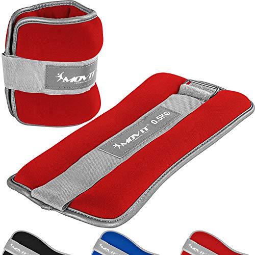 Movit® 2er Set Gewichtsmanschetten Neopren mit Reflektormaterial Laufgewichte für Hand- und Fußgelenke 2X 1,0 kg rot