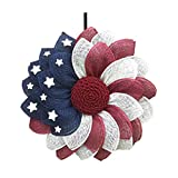 Patriotic Independence Wreath for Front Door Fourth of Julys Wreath Decor Fake Flower Wreath Welcome Door Wreath (Welcome Door Wreath A)