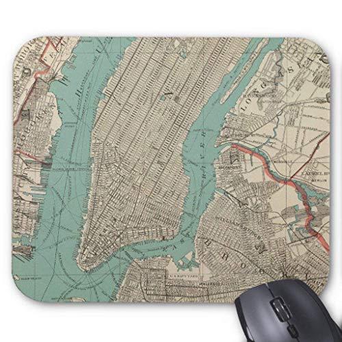 Muismat, Gaming Mouse Pad Grote Grootte 300x250x3mm Dikke Vintage Kaart Van New York Stad (1890) Uitgebreide Muis Pad Antislip Rubber