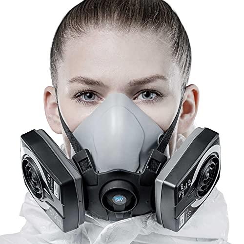 SolidWork Media máscara S/M/L incl. filtro P3 | mascarilla pintura reutilizable con la menor resistencia a la respiración | Máscara antigás contra gases orgánicos, vapores y partículas