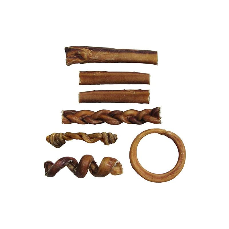 dog supplies online bully stick variety pack - includes 7 different thick low-odor bully sticks for dogs, best beef pizzle stix dog treats, & natural dental dog chews: straight, braided, ring, spring, & more