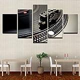 SPLLEADER 2020 - Lienzo decorativo para el hogar, impresión HD, 5 piezas, instrumentos de música DJ, tocadiscos, cuadros de discoteca, arte de pared, 30x40 30x60 30x80cm