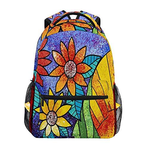 Mochilas de girasoles arco iris colorido floral portátil libro bolsa casual extra durable mochila ligera viaje deportes día para hombres mujeres
