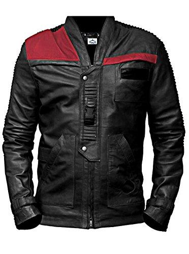 VearFit Herren Star Wars Finn Kostüm Black Real Biker Leather Jacket