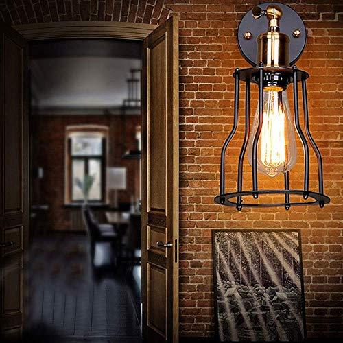 ZLININ País americano E27 fuente de luz hierro forjado material jaula lámpara de pared 10-15 metros cuadrados bar restaurante bar lámpara de mesa iluminación de alto gusto