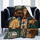 Flannel Fleece Blanket Printed Soft and Fluffy Warm Comfortable Foldrable Sherpa Throw Blanket,Rustic Lodge Bear Moose Deer Gifts for Kids Women and Adults, Used for Sofa Bed Travel Camping