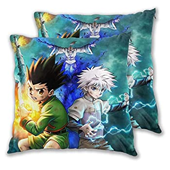 D-WOLVES Hun-TER X Hunt-er Throw Pillow Covers Set of 2 Anime Square Pillowcase Velvet Cushion Cases for Living Room Kids Bed Room Car Sofa Decor 18 x 18 Inches